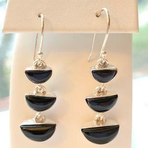 Jewelry - Black Onyx Dangle Earrings in 925 Silver. NWOT